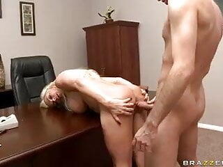 Milf Diamond foxxx leaning in wall and desk for Anal