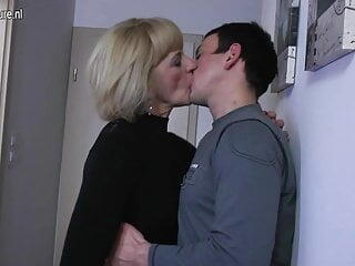 Horny mature mom and wife fucking her toy boy