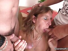 Hot threesome with sexy grandma in lingerie