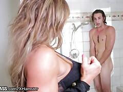 Slutty Cougar Surprises Daughters Boyfriend in Shower